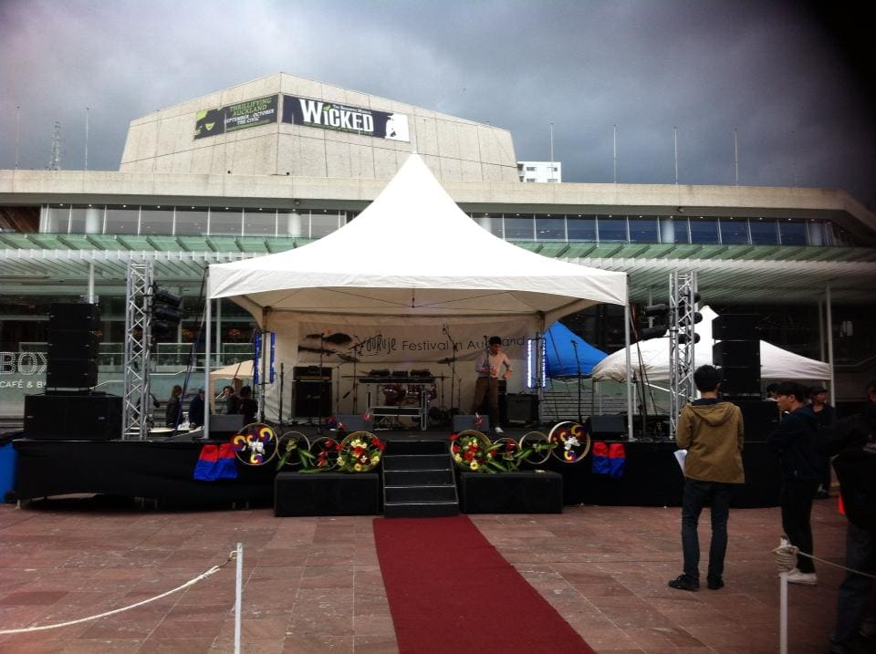 Covered 7.2 by 6 Stage setup for Duruje Festival in Aotea Square