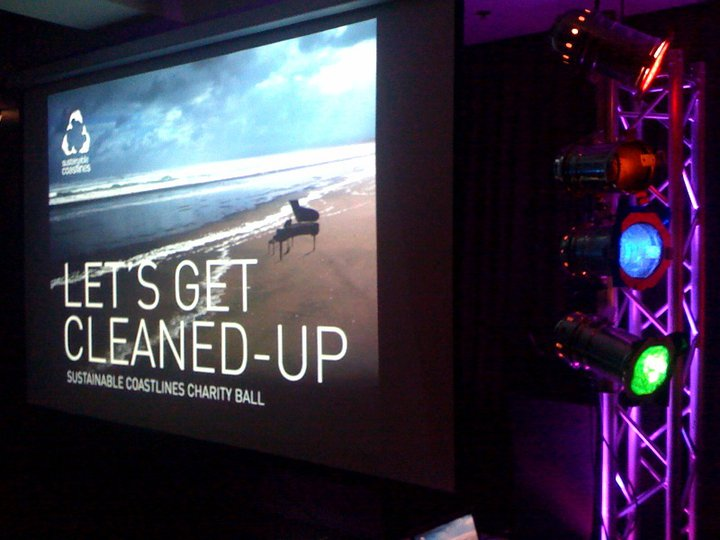 Projector, Screens, lighting and PS system setup for Charity Ball